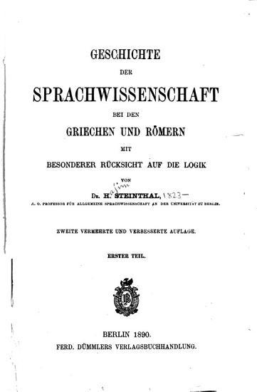 Geschichte Der Sprachwissenschaft Bei Den Griechen und R  mern  Mit Besonderer R  cksicht Auf Die Logik PDF