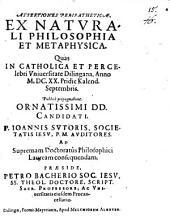 Assertiones peripatheticae ex naturali philosophia et metaphysica
