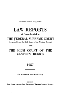 Reports of Cases Decided in the Supreme Court of Nigeria  on Appeal from the High Court of Western Nigeria  and the High Court of Western Nigeria PDF