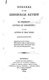 Remarks on the Edinburgh Review of Thomson's System of Chemistry: by the author of that work