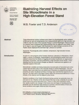 Illustrating harvest effects on site microclimate in a high elevation forest stand