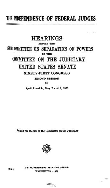 Download The Independenceof Federal Judges Book