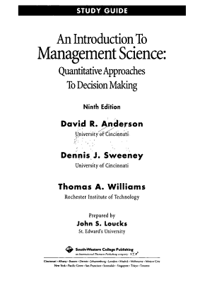 An Introduction to Management Science PDF