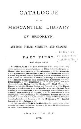 Catalogue of the Mercantile Library of Brooklyn  A C PDF