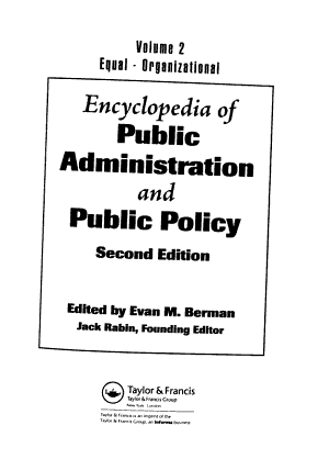 Encyclopedia of Public Administration and Public Policy  Equal Organizational PDF