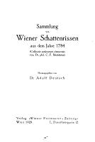 Sammlung von Wiener Schattenrissen aus dem Jahre 1784  i e  siebzehnhundert vierundachtzig  PDF