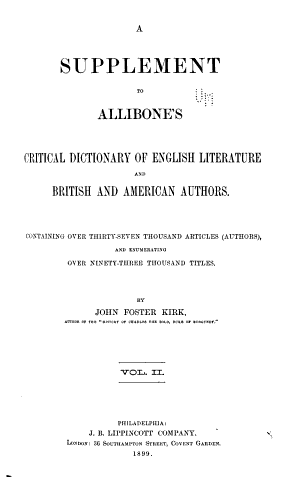 A Critical Dictionary of English Literature and British and American Authors  Living and Deceased  from the Earliest Accounts to the Latter Half of the Nineteenth Century PDF