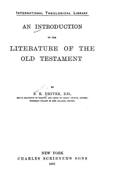 An Introduction to the Literature of the Old Testament PDF