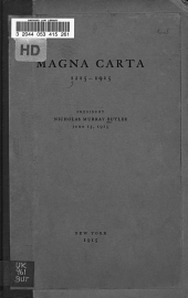Magna Carta, 1215-1915: An Address