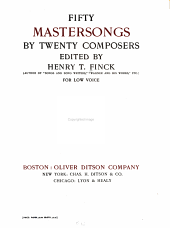 Fifty mastersongs by twenty composers: Volume 1