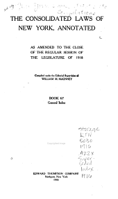 McKinney's Consolidated Laws of New York Annotated: With Annotations from State and Federal Courts and State Agencies, Volume 17, Part 2