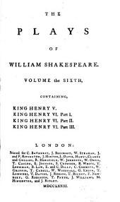 King Henry V. King Henry VI, part I-III