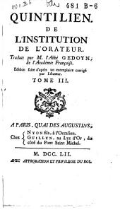 De l'institution de l'orateur: Volume 3