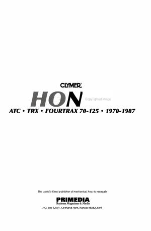 Clymer Honda ATC TRX Fourtrax 70 125  1970 1987