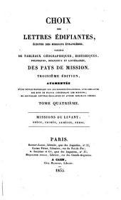 Choix des lettres édifiantes: Écrites du Levant