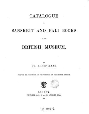 Catalogue of Sanscrit and Pali Books in the British Museum PDF