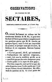 Observations sur l'article sur les sectaires, inséré dans la Gazette de Lausanne, du 13 mars 1829