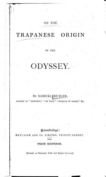 Download On the Trapanese Origin of the Odyssey Book