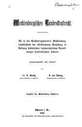 Mecklenburgisches Landesstrafrecht: Die in . . . Mecklenburg . . . in Geltung befindlichen landesrechtlichen Verordnungen strafrechtlichen Inhalts