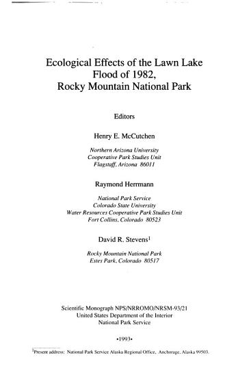 Ecological Effects of the Lawn Lake Flood of 1982  Rocky Mountain National Park PDF
