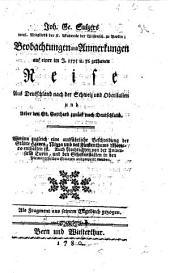 J. G. S.'s ... Beobachtungen und Anmerkungen auf einer ... Reise, aus Deutschland nach der Schweiz und Oberitalien ... als Fragment aus seinem Tagebuch gezogen