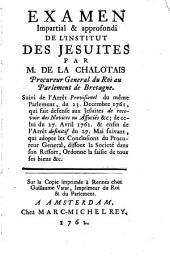 EXAMEN Impartial & approfondi DE L'INSTITUT DES JESUITES