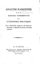 Analyse raisonnée des principes fondamentaux de l'économie politique