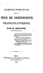 Examen du projet de loi relatif au services des correspondences transatlantiques