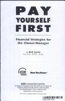 Pay Yourself First   Financial Strategies for the Owner PDF
