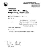 John Henry No.1 Mine, King County: Environmental Impact Statement