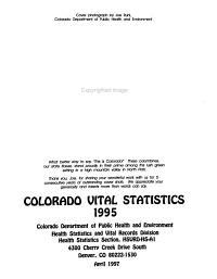 Colorado Vital Statistics PDF