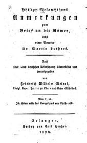 Philipp Melanchthons Anmerkungen zum Brief an die Römer
