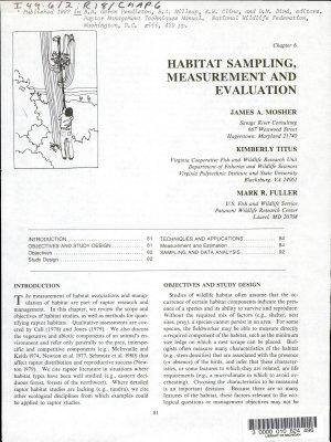 Habitat Sampling  Measurement and Evaluation