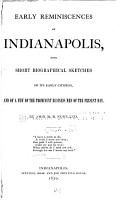 Early Reminiscences of Indianapolis PDF
