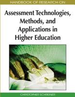 Handbook of Research on Assessment Technologies  Methods  and Applications in Higher Education PDF