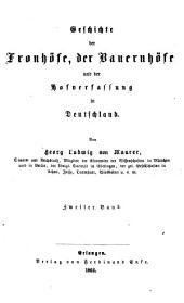 Geschichte der fronhöfe: der bauernhöfe und der hofverfassung in Deutschland