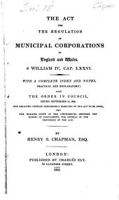 The Act for the Regulation of Municipal Corporations in England and Wales