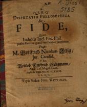 Disputatio philosophica de fide