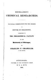 Miscellaneous Chemical Researches