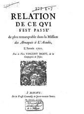 Relation de ce que s'est passé de plus remarquable dans la mission des Abnaquis à l'Acadie, lʹannée 1701
