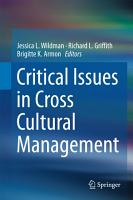 Critical Issues in Cross Cultural Management PDF