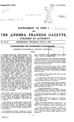 The Andhra Pradesh Gazette PDF