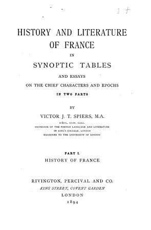 History and Literature of France in Synoptic Tables PDF