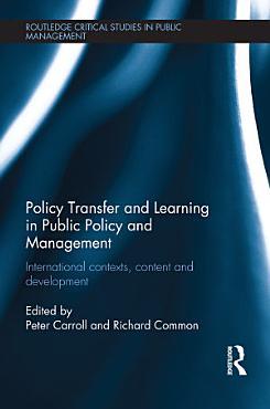 Policy Transfer and Learning in Public Policy and Management PDF