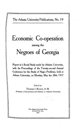 Economic Co operation Among the Negroes of Georgia PDF