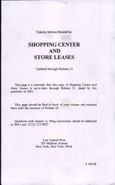 Shopping Center And Store Leases