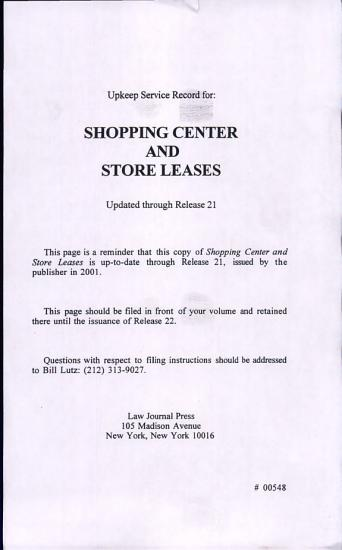 Shopping Center and Store Leases PDF