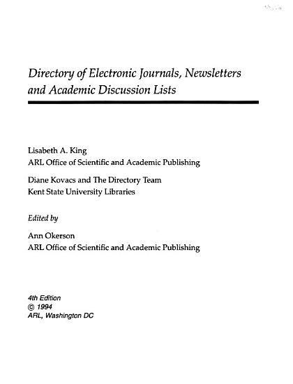 Directory of Electronic Journals  Newsletters  and Academic Discussion Lists PDF