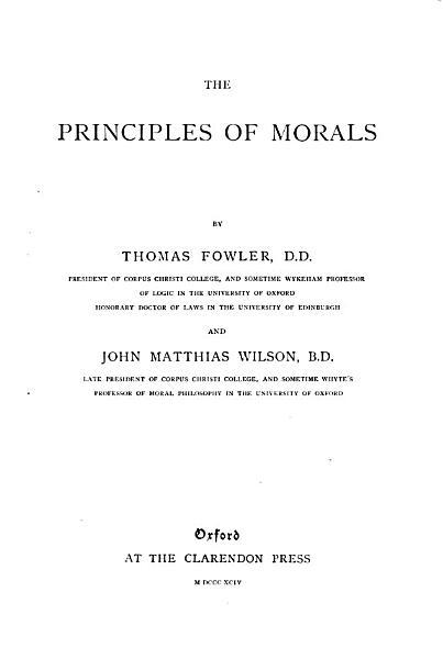 The Principles of Morals PDF