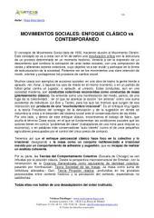 MOVIMIENTOS SOCIALES: ENFOQUE CLÁSICO vs CONTEMPORÁNEO